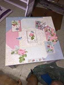 DIY Decoupaged End Table for sale. Contact debbie.mussack@yahoo.com for more information if you are interested in purchasing.