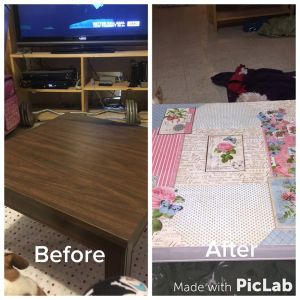 Before and after picture of end table